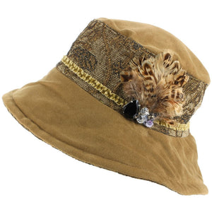 Ladies Mixed Fabric Cloche Hat with a Soft Velvety Crown and Brim