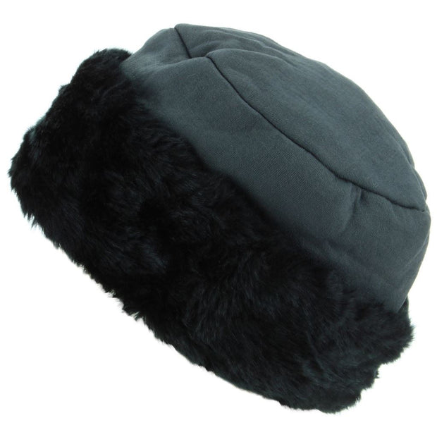 Ladies Jersey Hat with Faux Fur Cuff - Grey