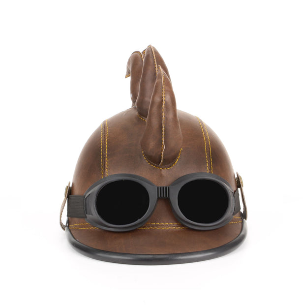 Saw Blade Mohawk Horned Novelty Festival Helmet with Goggles - Brown