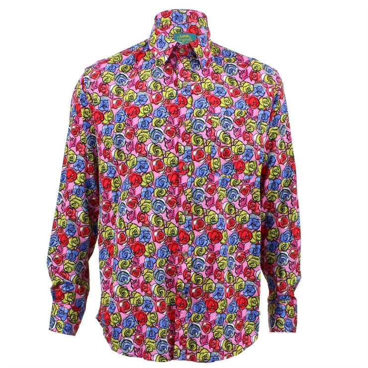 Tailored Fit Long Sleeve Shirt - Sketched Roses
