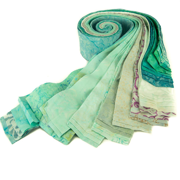 Cotton Batik Pre Cut Fabric Bundles - Jelly Roll - Icy Turquoise