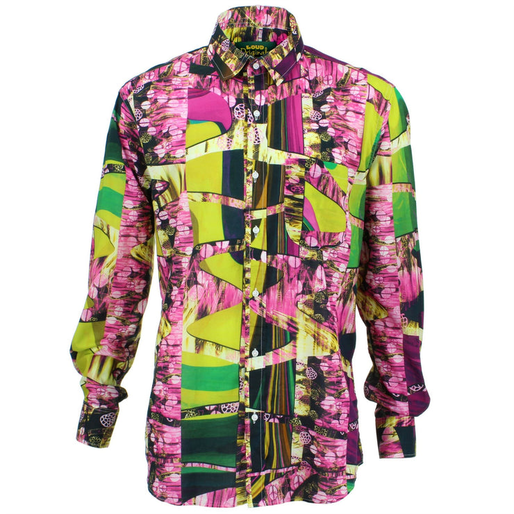 Regular Fit Long Sleeve Shirt - Pink & Green Abstract