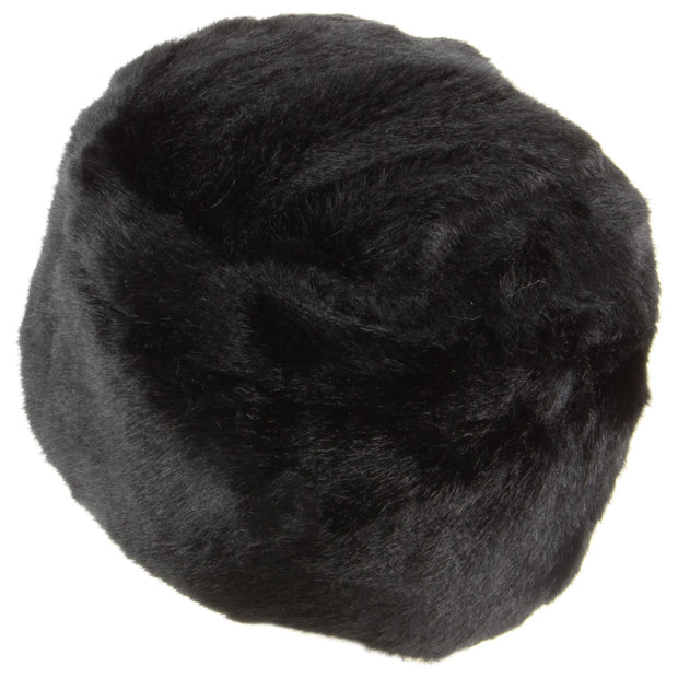 Thick faux fur Pill Box hat - Black
