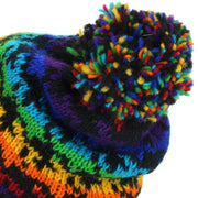 Wool Knit Bobble Beanie Hat - Rainbow Houndstooth
