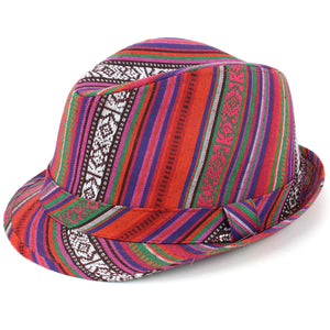 Aztec Print Trilby Hat - Red
