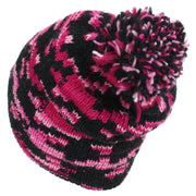 Wool Knit Bobble Beanie Hat - Pink Houndstooth