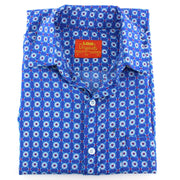 Tailored Fit Short Sleeve Shirt - Blue Abstract Floral