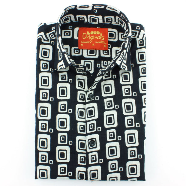Slim Fit Long Sleeve Shirt - Block Print - Squircles