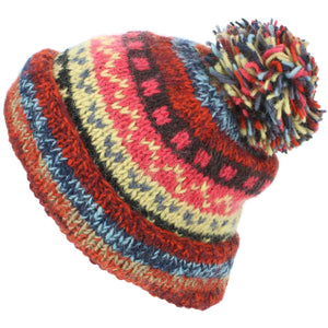 Chunky Wool Knit Abstract Pattern Beanie Bobble Hat - Red