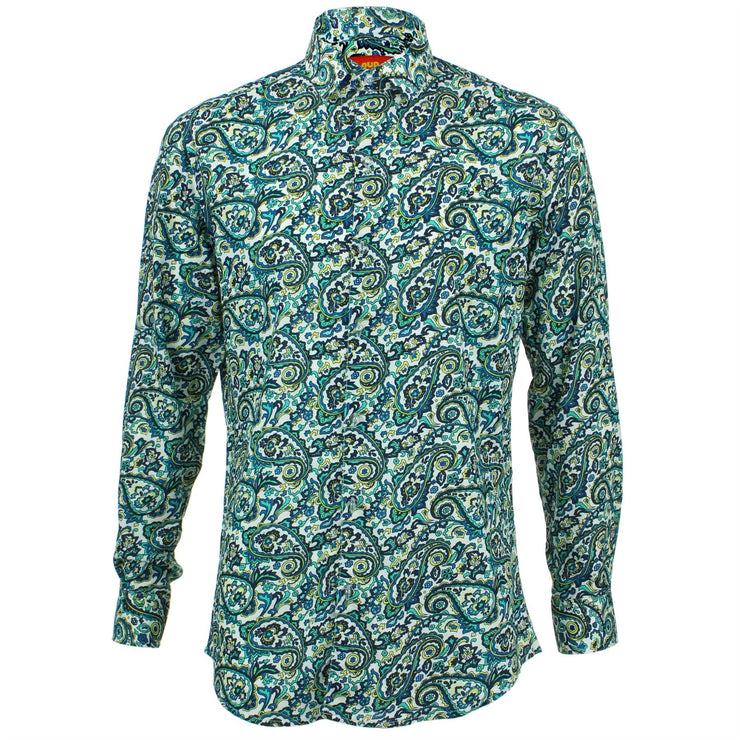 Tailored Fit Long Sleeve Shirt - Porcelain Paisley