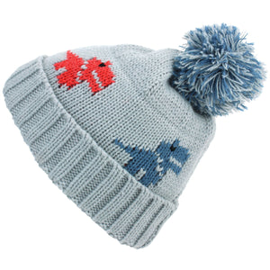 Kids dinosaur Bobble Beanie Hat - Grey