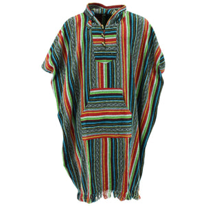 Brushed Cotton Long Hooded Poncho - Mexican Diamond