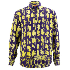 Regular Fit Long Sleeve Shirt - Herd of Elephants - Purple