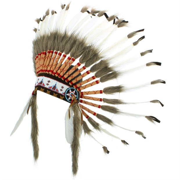 Native Amercian Chief Headdress - Leather Tips