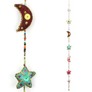 Handmade Rajasthani Strings Hanging Decorations - Moon & Stars