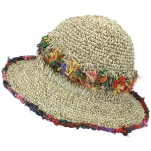 Hemp & Cotton Crochet Sun Hat - Soft Multi