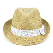 Straw Trilby Fedora Hat with Floral Print Band - Purple