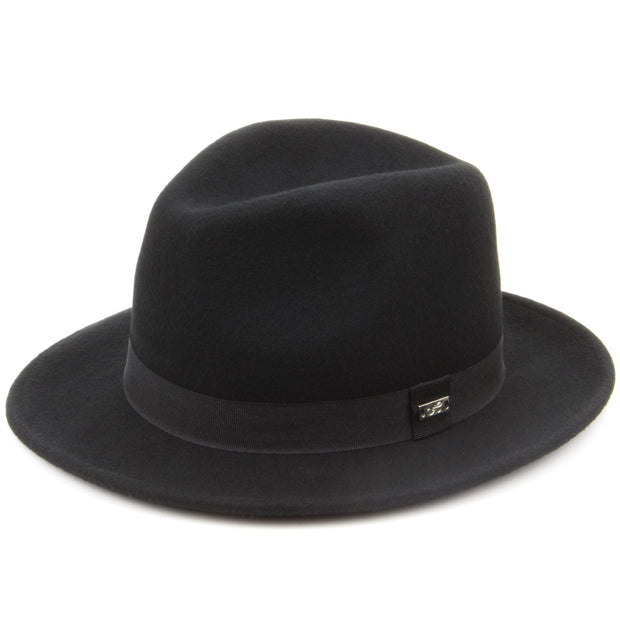 100% Wool felt fedora hat with band - Black