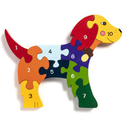 Handmade Wooden Jigsaw Puzzle - Number Dog