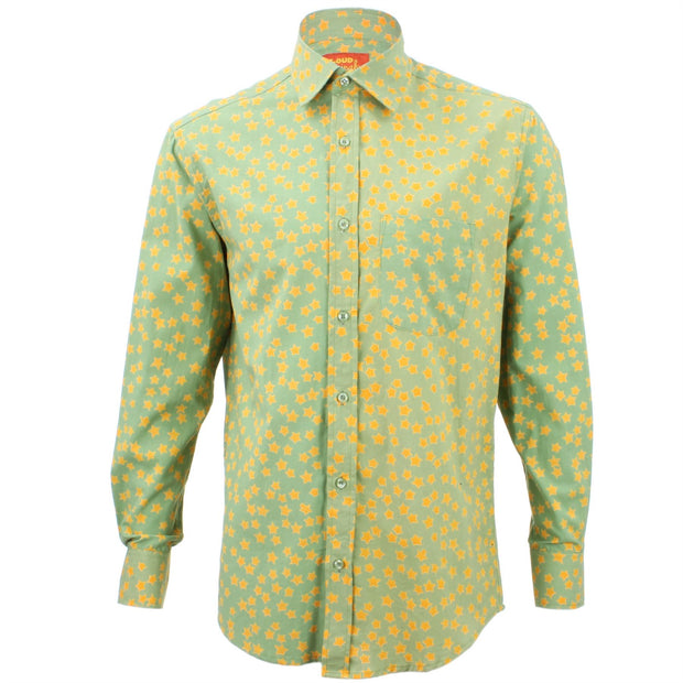 Regular Fit Long Sleeve Shirt - Green with Yellow Stars