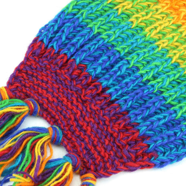 Long Chunky Knit Wool Multi Mix Scarf - Rainbow Space Dye