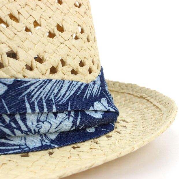 Straw Trilby Fedora Hat with Hibiscus Floral Band - Natural