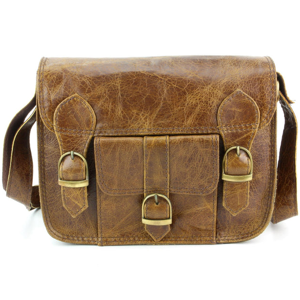 Real Leather Satchel with Front Pocket - Brown