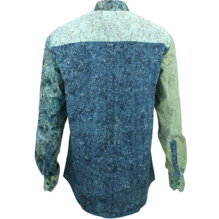Regular Fit Long Sleeve Shirt - Random Mixed Batik - Dark Blue