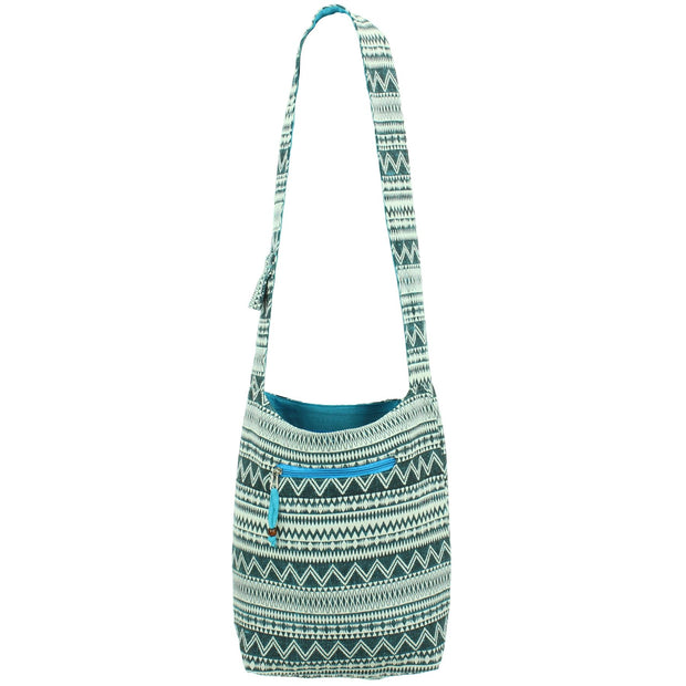 Cotton Canvas Sling Shoulder Bag - Turquoise
