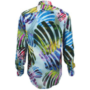 Regular Fit Long Sleeve Shirt - Blue & Pink Abstract Jungle