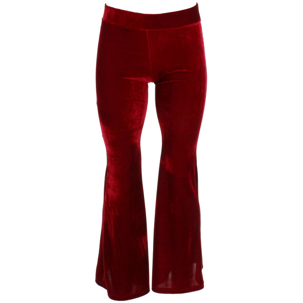 Velvet Flares Trousers - Red