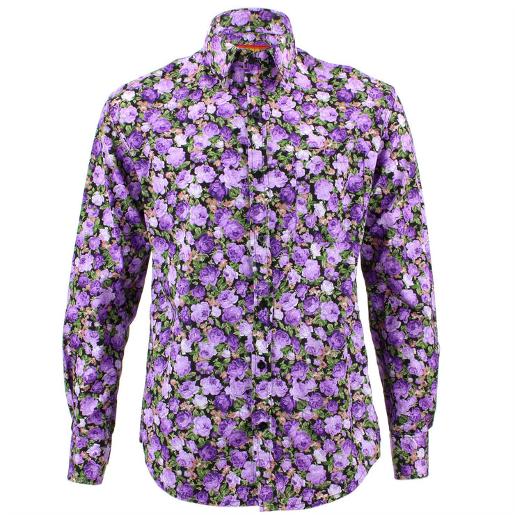 Tailored Fit Long Sleeve Shirt - Bright Purple Floral