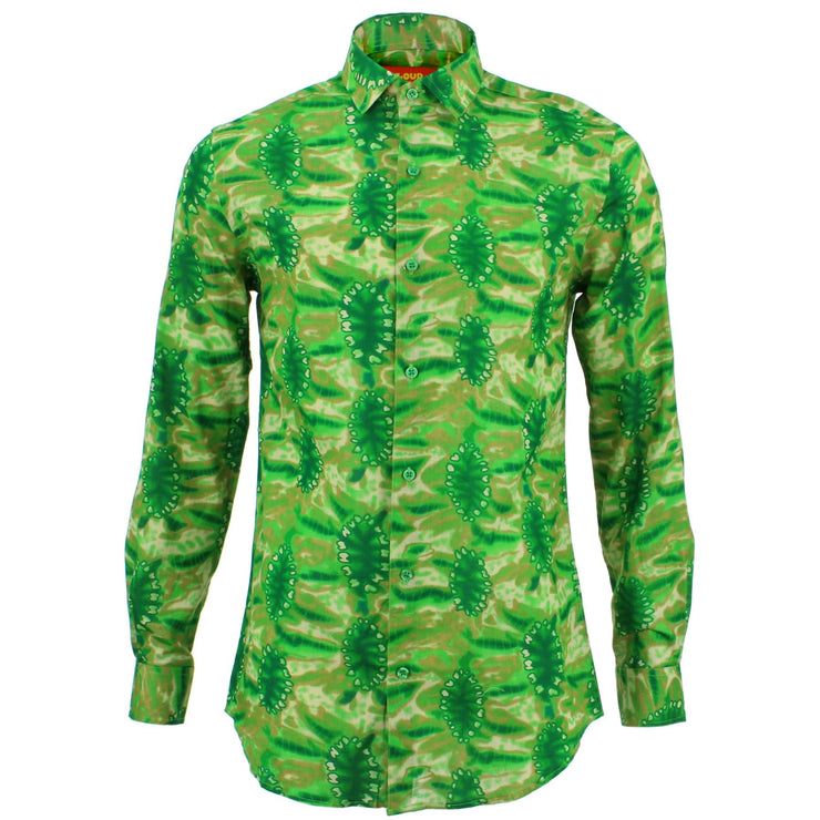 Tailored Fit Long Sleeve Shirt - Bright Green Wash