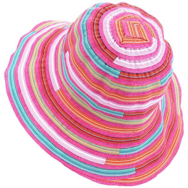 Ladies Multi Stripe Sun Hat - Pink