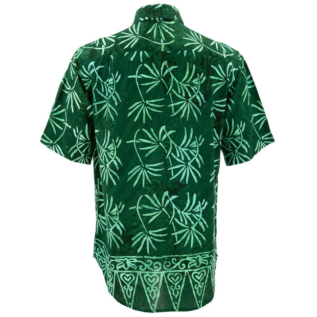 Regular Fit Short Sleeve Shirt - Tropical Leaf - Green