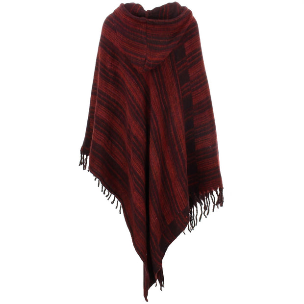 Vegan Wool Hooded Poncho - Brown