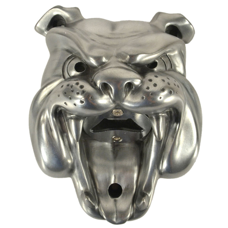 Wall Mounted Character Bottle Opener - Bulldog (Silver)