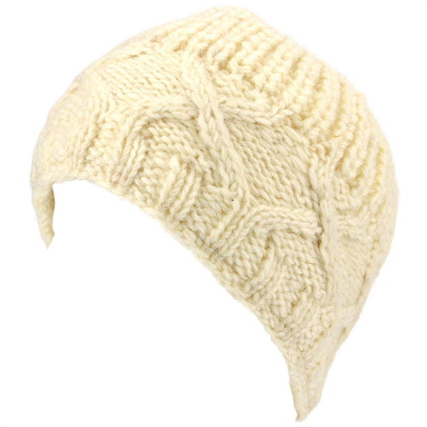 Wool Beanie Hat with Chunky Cross Cable Knit Design - Off White
