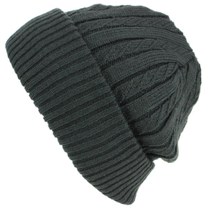 Fine Knit Beanie Hat with Super Soft Fleece Lining - Grey