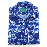 Tailored Fit Short Sleeve Shirt - Blue Distorted Floral