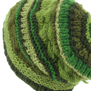 Wool Knit Beanie Hat - Stripe Green