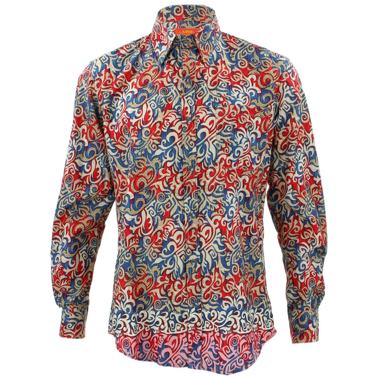 Tailored Fit Long Sleeve Shirt - Red & Blue Tribal