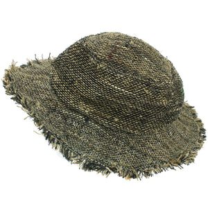 Frayed Brim Hemp Sun Hat - Black