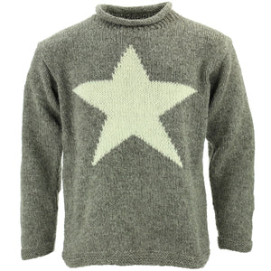 Chunky Wool Knit Star Jumper - Grey & Cream
