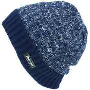 Cable Knit Marl Beanie Hat with Turn-up - Blue