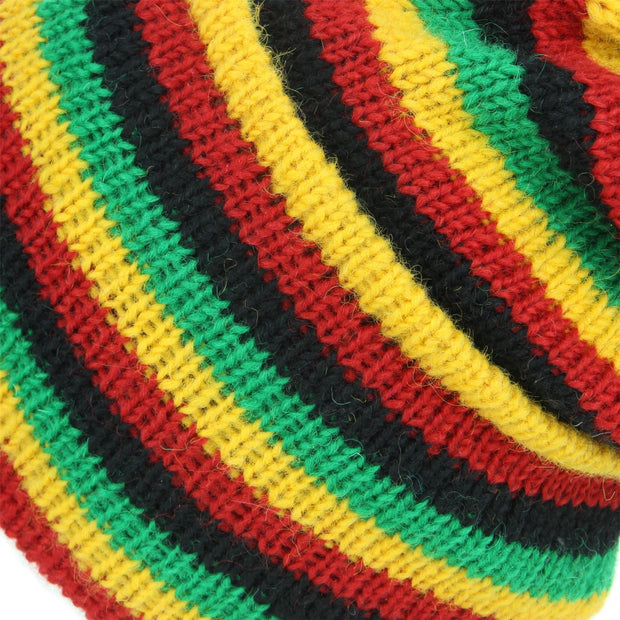 Wool Knit Ridge Beanie Hat with Fleece Lining - Rasta