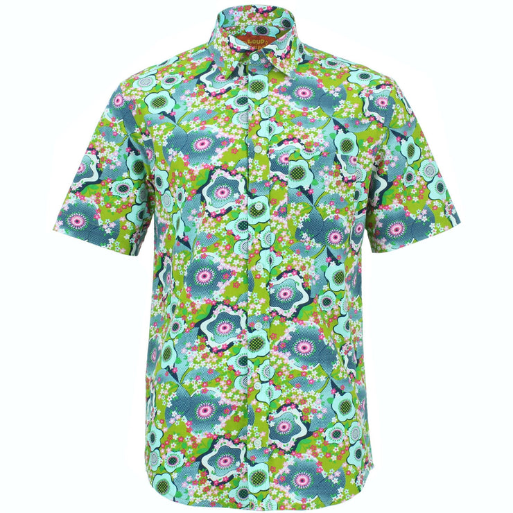 Regular Fit Short Sleeve Shirt - Floral Oyster