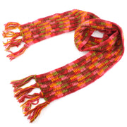 Long Narrow Chunky Wool Knit Scarf - Red