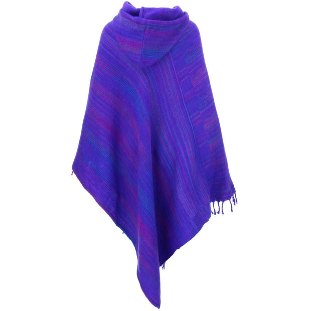 Vegan Wool Hooded Poncho - Purple & Blue