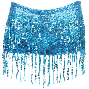Sequin Tassel Hot Pants - Turquoise